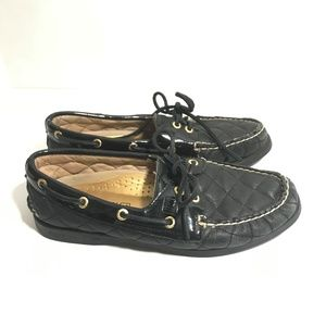 Sperry Boat Quilted Leather Patent Black Gold